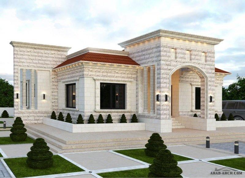 تصاميم خارجية فيلات  و بيوت من الحجر من اعمال مكتب الثقة الهندسي/جنين