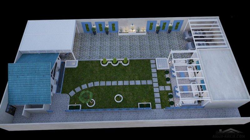 تصميم حديقة بيت طراز يوناني لعميل بالسعودية  من أعمال م.محمد التتري