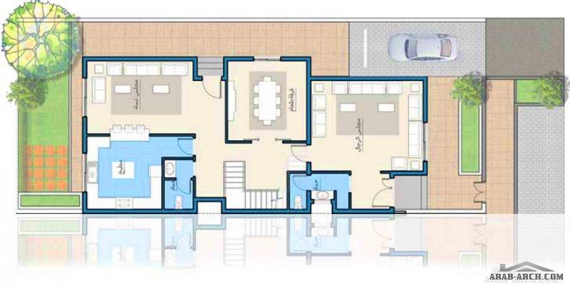 دوبلكس الاوكيد متصل بتصمم ذكي الارض من 240 - 340 متر مربع