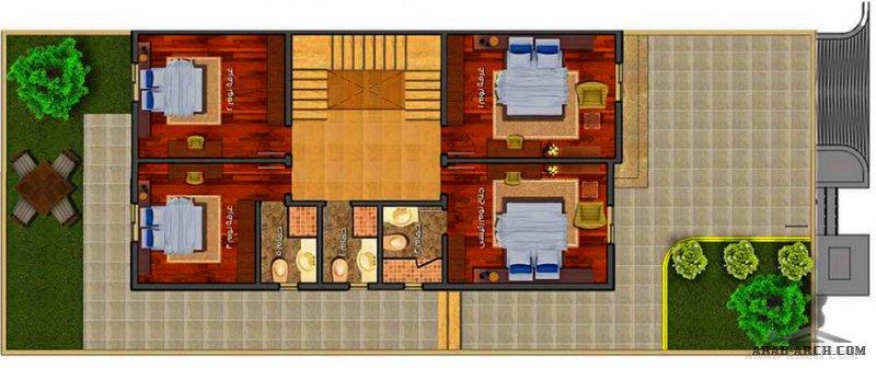 مخطط فيلا سكني من اعمال التميمي - صغيرة المساحة مسطحات البناء 305 م2