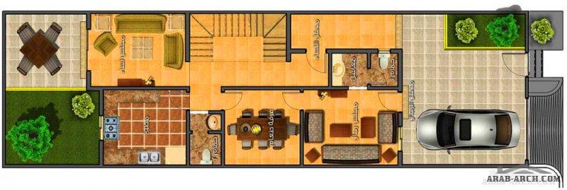 تاون هاوس نمط سعودي صغير المساحة 4 غرف نوم - المباني 260 م2