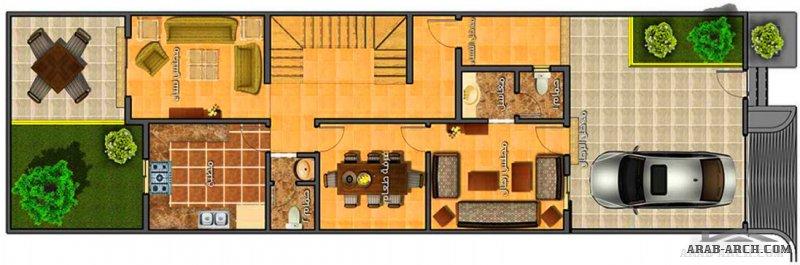 مخطط تاون هاوس تصميم سعودي 3 غرف نوم و تراس خلفي صغير المساحة مسطح البناء 250 متر مربع