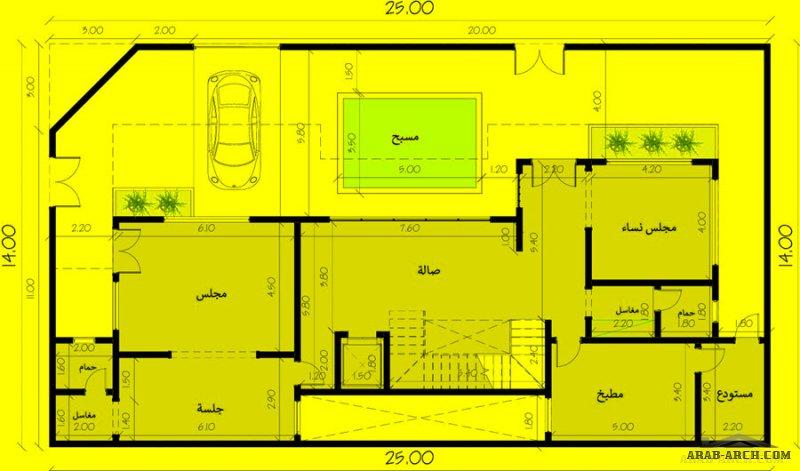 مخطط فيلا الارض 14*25 متر مربع تصميم سعودي من مشاركات عبدالله عبدالرحمن