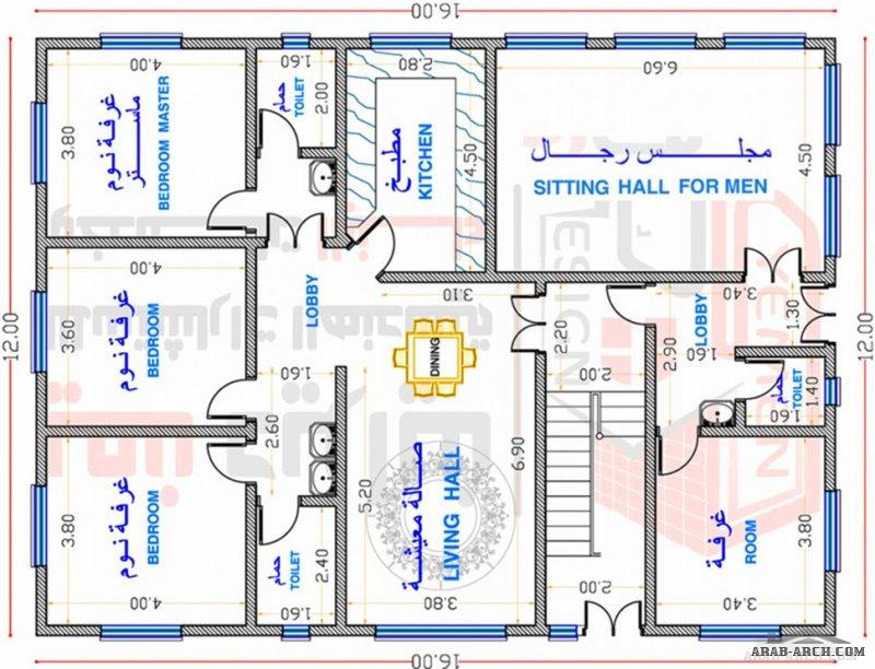 منزل سكني ادوار متكررة 190 م2 من اعمال مكتب يمن ديزاين