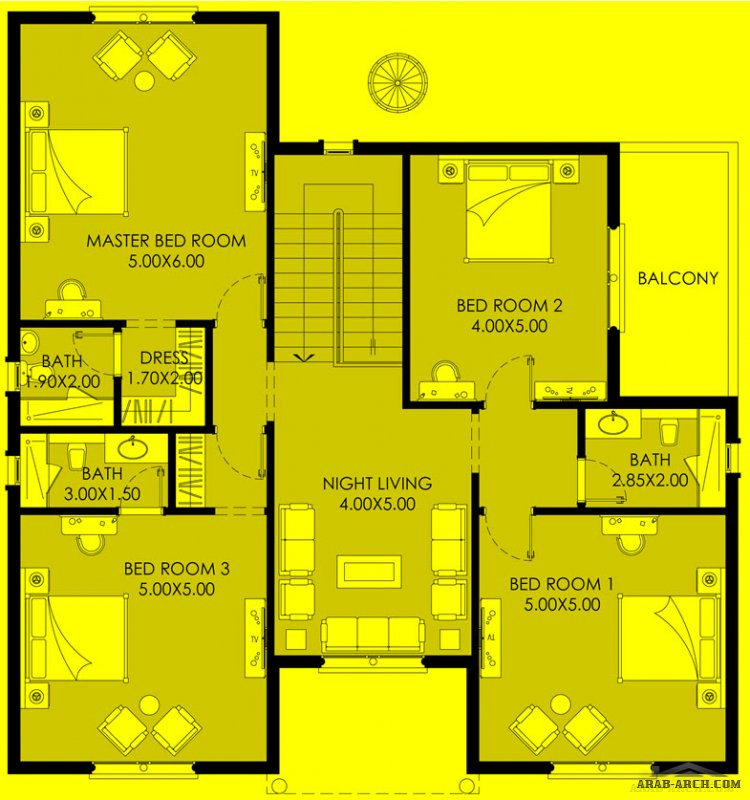 مخطط خليجي 5 غرف نوم 379 م2 - تصميم برنامج الشيخ زايد
