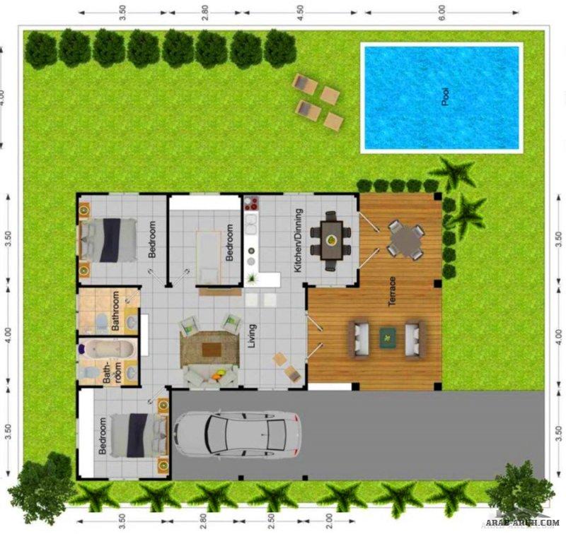 خرائط 3 استراحات بمسبح ابعاد ومقاسات مناسبة جدااا
