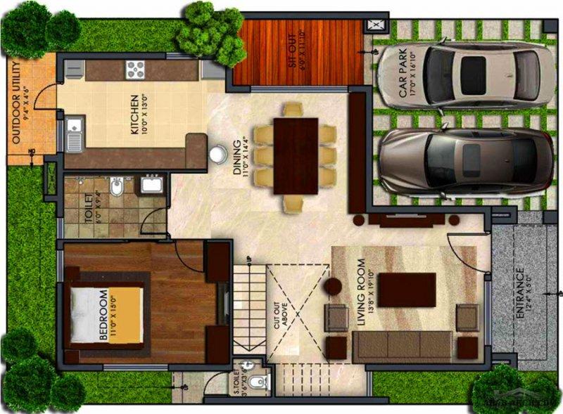 خرائط  فيلا مودرن تصميم حديث طابقين أوربي صغيرة المساحة 4 غرف نوم
