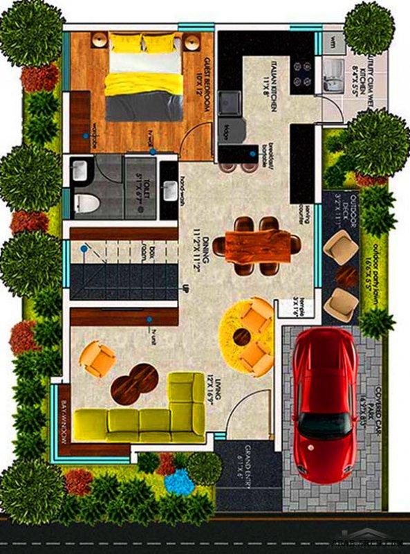 3 غرف نوم مخطط مودرن تصميم اوربي طابقين صغيرة المساحة