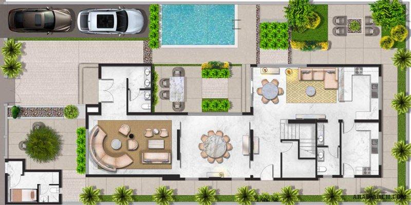 مخطط فيلا 4 غرف نوم تصميم سعودي 409 متر مربع مساحة الأرض