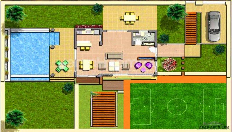 مخطط استراحة  مساحة كبيرة  مع ملاعب و مسبح