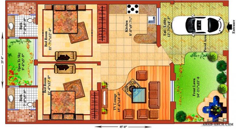4 تصاميم دور  واحد بحديقة خلفية منوعه صغيرة المساحة
