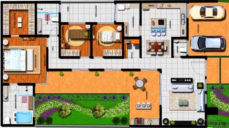 مخطط طابق واحد أرضي افكار جديدة 3 غرف نوم