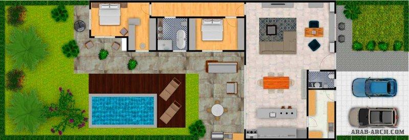 تصميم 2 استراحة طابق واحد بمسبح و مساحات خضراء
