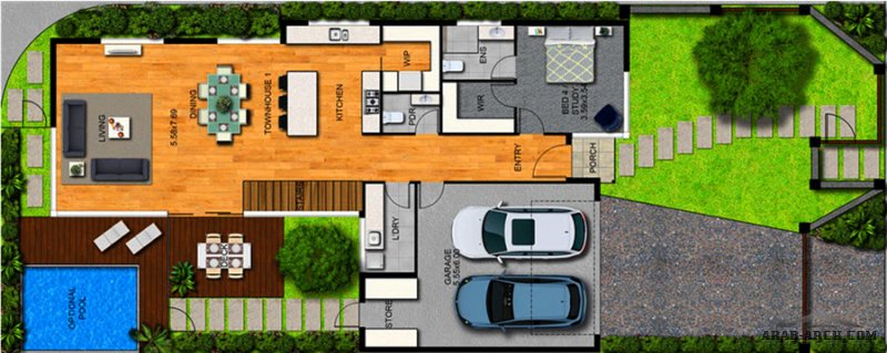 مخطط استراحة جدا راقية دورين 4 غرف نوم