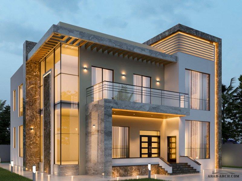 مخطط خليجي غرف النوم 5 المساحة 680.50 متر مربع عدد الطوابق أرضي - أول أبعاد البيت 19.45 م x 20 م صمم بواسطة الماسه للاستشارات الهندسية