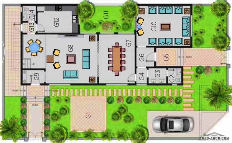 مخطط فيلا القمة 2 مساحة الارض 375 م2 البناء 318 م2 مسكن هايتس الرياض