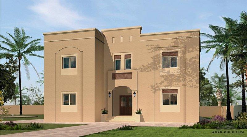مخطط فيلا غرف النوم 4 المساحة 294 متر مربع  أرضي - أول أبعاد  14.80 م x 13.40 م  صمم بواسطة دائرة الإسكان
