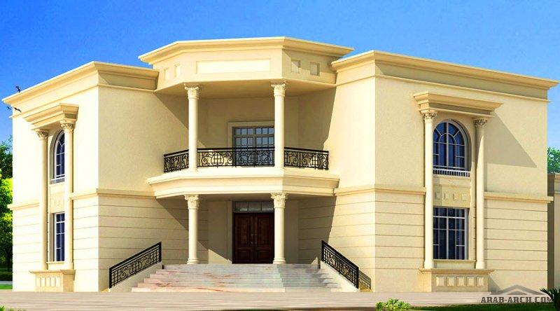 فيلا 5 غرف نوم  المساحة 558 متر مربع عدد الطوابق 2 أبعاد البيت 17.60 م x 17.60 م  صمم بواسطة مارينا للاستشارات الهندسية