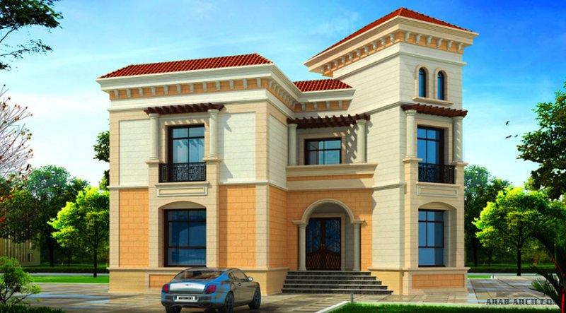 مخطط فيلا 5 غرف نوم  المساحة 460 متر مربع عدد الطوابق أرضي - أول  17.40 م x 16.30 م  صمم بواسطة مارينا للاستشارات الهندسية