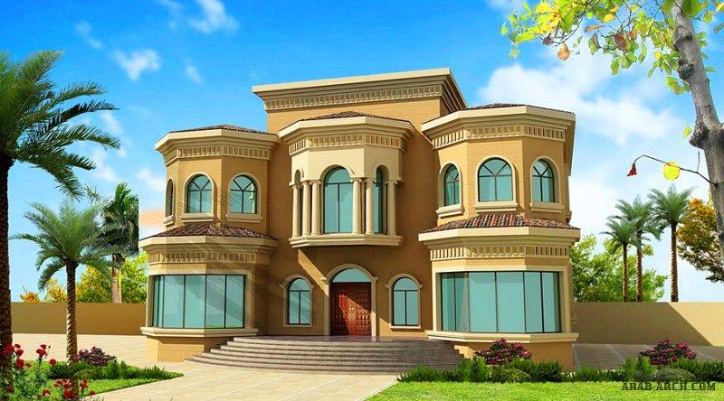 فيلا غرف النوم 6 المساحة 830 متر مربع عدد الطوابق أرضي - أول أبعاد البيت 18.30 م x 20.60 م صمم بواسطة ديار للاستشارات الهندسية