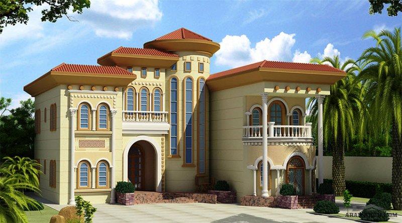 غرف النوم 5 المساحة 644.33 متر مربع عدد الطوابق أرضي - أول أبعاد البيت 21 م x 18 م صمم بواسطة البيت للاستشارات الهندسية