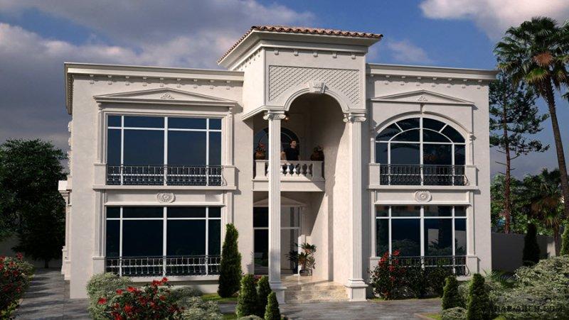 مخطط غرف النوم 5 المساحة 445 متر مربع عدد الطوابق أرضي - أول أبعاد البيت 18 م x 14.70 م  صمم بواسطة شركة الحمراء للاستشارات الهندسية