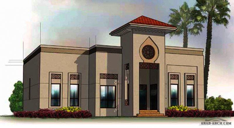 دور واحد غرف النوم 2 المساحة 168 متر مربع عدد الطوابق أرضي أبعاد البيت 15 م x 14.60 م  صمم بواسطة برنامج الشيخ زايد للإسكان