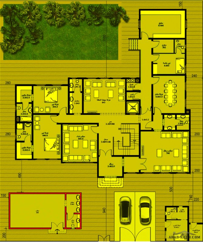 مخطط 650 م2 طابقين 6 غرف نوم  من أعمال ايبلا للاستشارات الهندسية