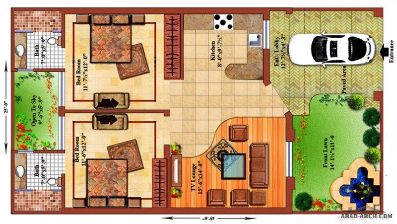 طابق واحد صغير المساحة تصميم مودرن 2 غرفة نوم
