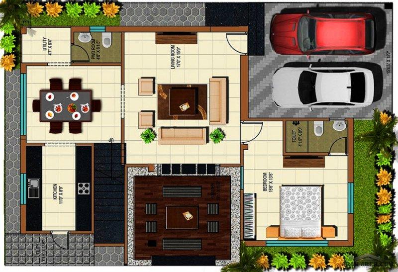 تصاميم  مساقط فيلا طابقين صغير المساحة 4 غرف نوم