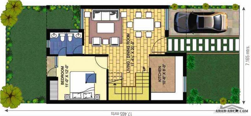 فيلا عصريه صغيرة المساحة تصميم مودرن الارض 125 متر مربع