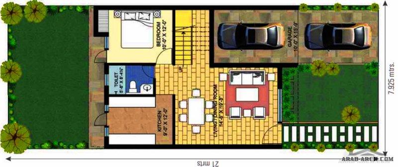 مخطط معماري فيلا مودرن طابقين بمساحة #أرض 166 م٢  21*8 تصميم حديث