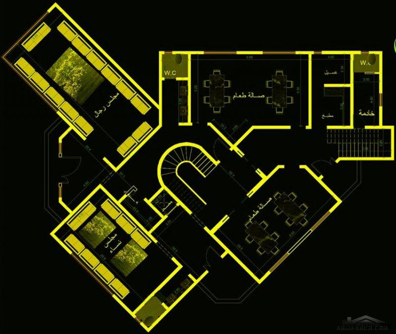تصميم ڤيلا كلاسيك بمسطح بناء 400 متر مربع على قمة جبل بمدينة ابها  من أعمال مكتب الحسن للاستشارات الهندسية