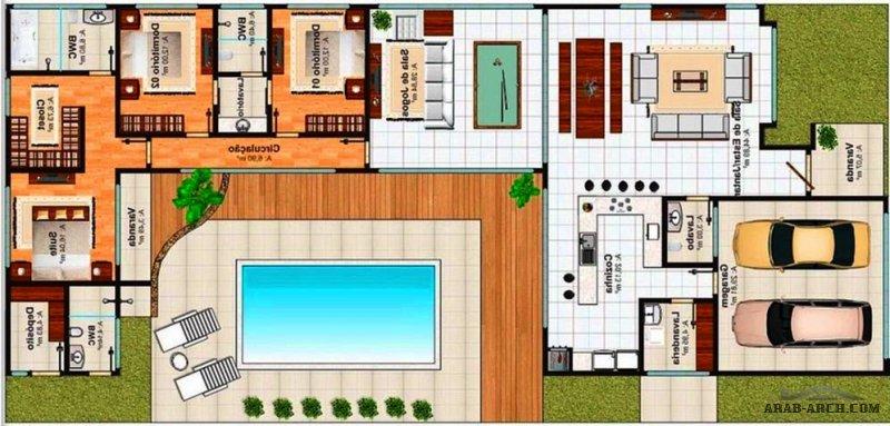 مخطط بيت العمر طابق واحد  تصميم مودرن بمسبح داخلي