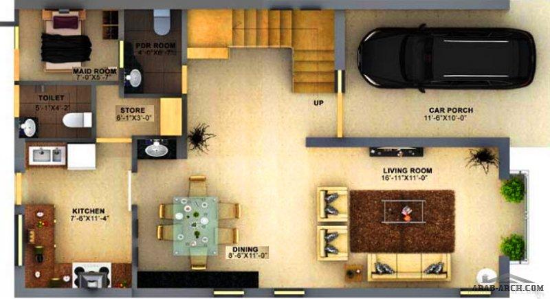 فيلا مخطط مودرن تصميم حديث مساحة صغيرة