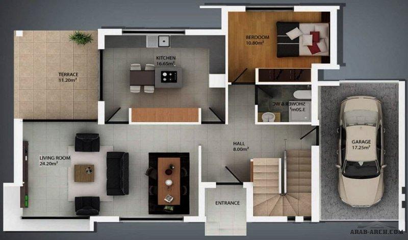 فيلا مودرن من 3 غرف نوم بمساحة صغيرة تصميم اوربي