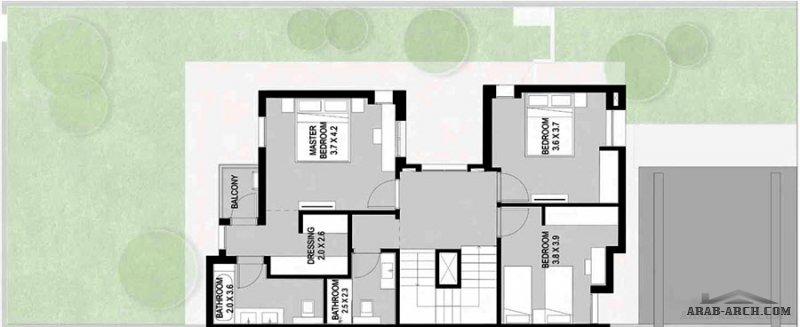 فيلا شبه مستقلّة  3 غرف نوم تصاميم فخمة تضم أفنية خارجيّة