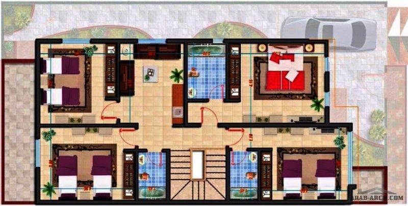 تصميم معماري مدروس لدوبلكس على مساحة أرض 20x20  ( الدور الأرضي والعلوي والواجهة ) م.مذكر دغش القحطاني