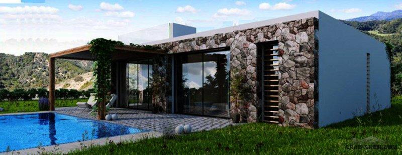 مخطط استراحه عائلية  صغيرة المساحة تصميم حواءط من الحجر 130 متر مربع 130 m2  3 Bedrooms  2 Bathrooms