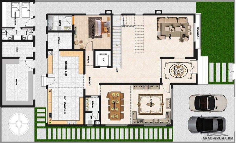 تصميم فيلا و واجهتها من طابقين ونصف مع الملاحق مع المخططات المعمارية، مساحة الارض ٥٠٠ م٢ ومساحة البناء ٧٠٠ م٢ ، من تصميم شركة المستقبل للاستشارات الهن