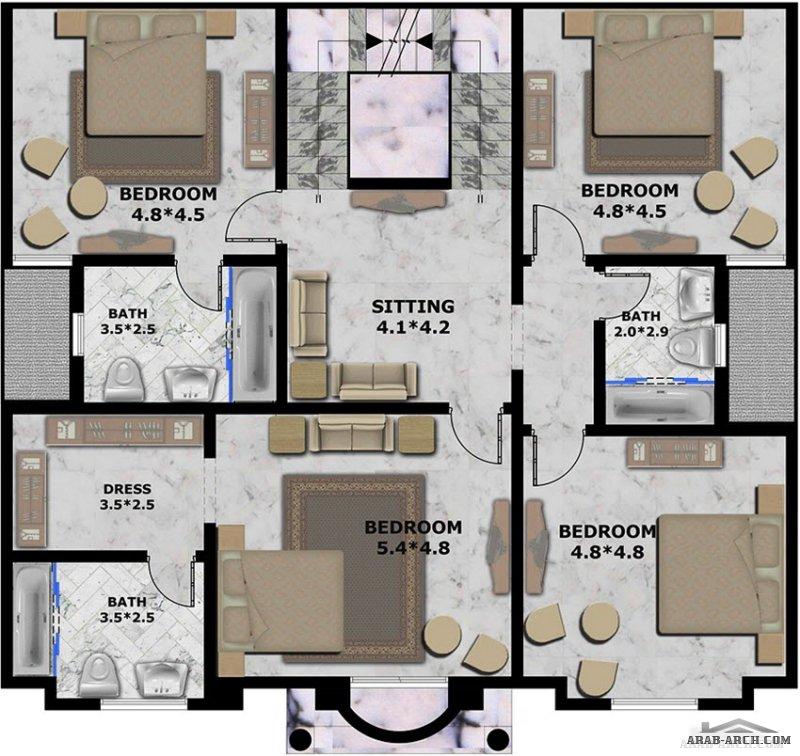 تصميم فيلا و واجهة من طابقين ونصف ، مساحة الارض 613 م٢ ومساحة البنيان 470 م٢ ، من تصميم شركة المستقبل للاستشارات الهندسية