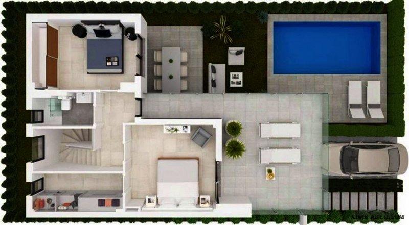 مخطط فيلا مودرن صغيرة المساحة بمسبح و حديقة الارض 240 متر مربع و المباني علي 140 متر مربع