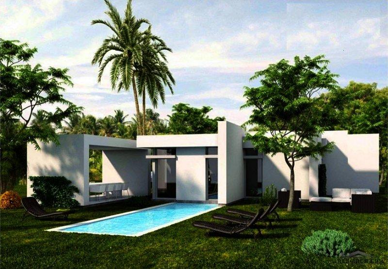 طابق واحد حديقة و مسبح و جلسات خارجيه تصميم مودرن