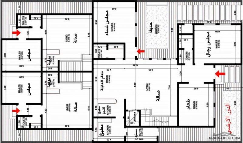 مخطط فيلا دورين  من الإمام  و بنتهاوس من الخلف مساحةالارض 18.5x31.25 على شارعين متظاهرين من مشاركات تويتر AL1000A