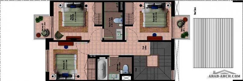 مخطط فيلا صغيرة المساحة 175 متر مربع مودرن 3 غرف نوم طابقين