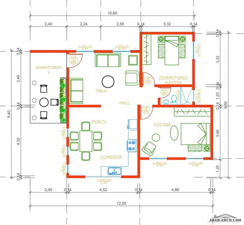 مخطط من طابق واحد مساحة 85 متر مربع من منشورات مدونه خربشات مهندس