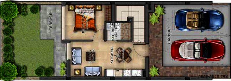 مخطط فيلا صغيره المساحة متلاصقة خليجي حديث 4 غرف نوم