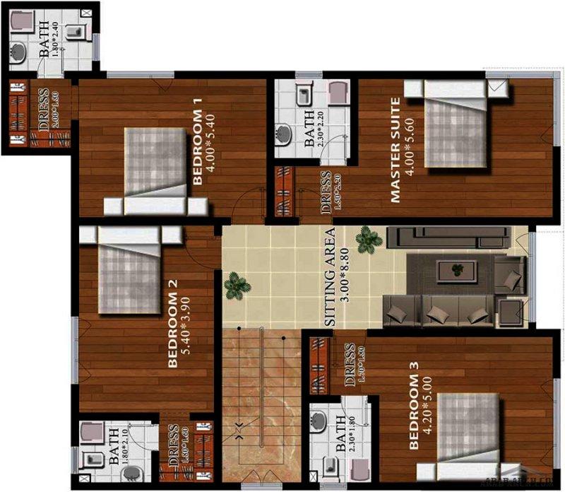 مخطط فيلا خليجي راقية 5 غرف نوم ماستر مساحة الارض 400 متر مربع