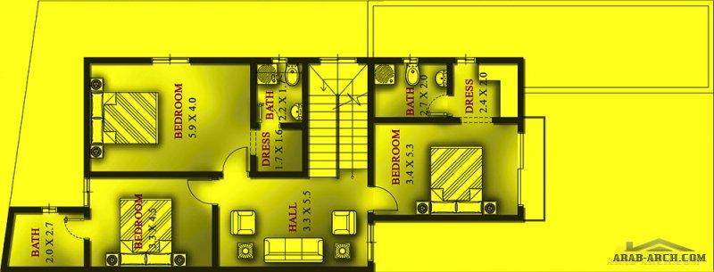 مخطط فيلا صغيرة المساحة 4 غرف 6 دورات مياه مساحة الارض 250 متر مربع