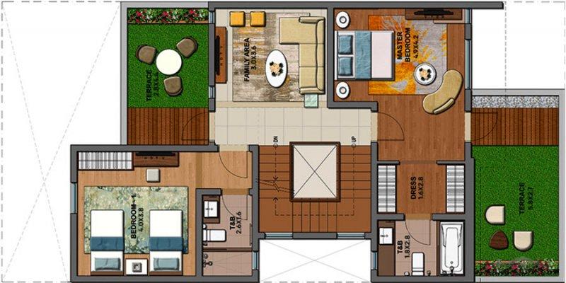 مخطط فيلا مودرن 2 غرفة نوم ماستر